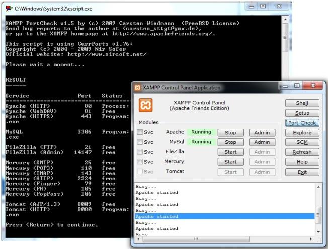 XAMPP Portc check